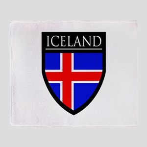 Iceland Flag Patch Throw Blanket