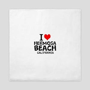 I Love Hermosa Beach, California Queen Duvet