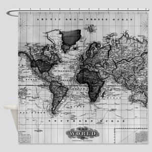 Vintage Map of The World (1833) Whi Shower Curtain
