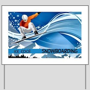 Snowboarding Yard Sign