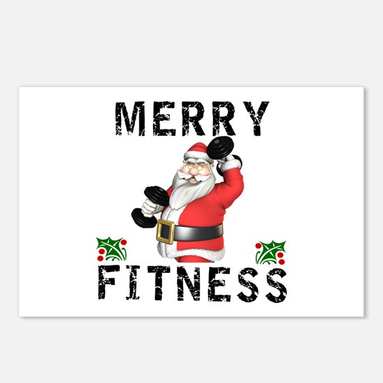 Merry Fitness Santa Postcards (Package of 8)