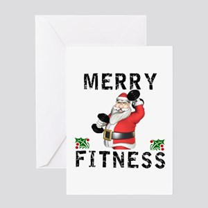 Fitness greeting cards cafepress merry fitness santa greeting cards m4hsunfo