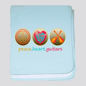 PEACE HEART GUITARS baby blanket