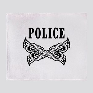 Police Tattoo Throw Blanket