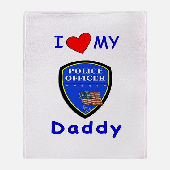 I Love Police Officer Daddy Throw Blanket