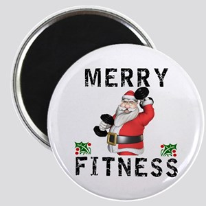 Merry Fitness Santa Magnets