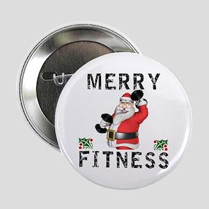 "Merry Fitness Santa 2.25"" Button"