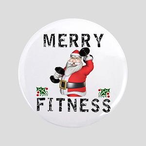 Merry Fitness Santa Button