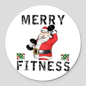 Merry Fitness Santa Round Car Magnet