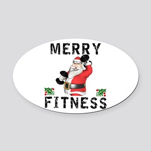 Merry Fitness Santa Oval Car Magnet
