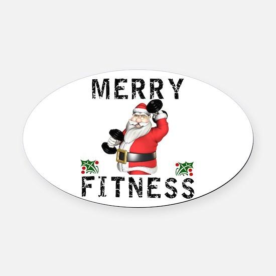 Merry Fitness Santa Oval Car Magnet