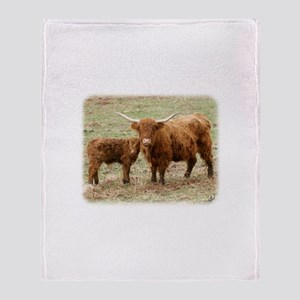 Highland Cow and calf 9Y316D-045 Throw Blanket