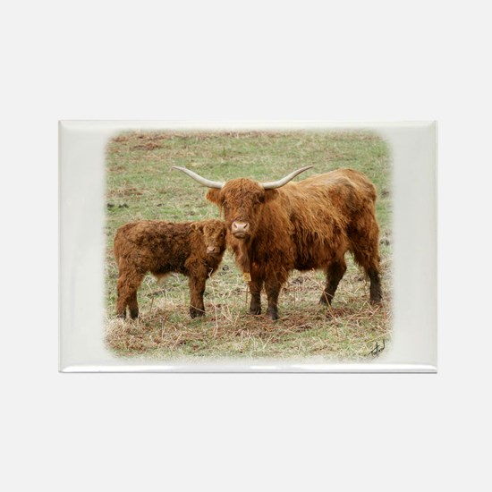 Highland Cow and calf 9Y316D-045 Rectangle Magnet