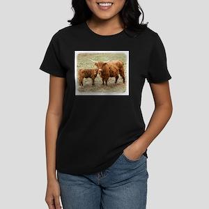 Highland Cow and calf 9Y316D-045 Women's Dark T-Sh
