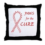 Red Paws 4 Cure Throw Pillow