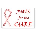 Red Paws 4 Cure Rectangle Sticker