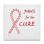 Red Paws 4 Cure Tile Coaster