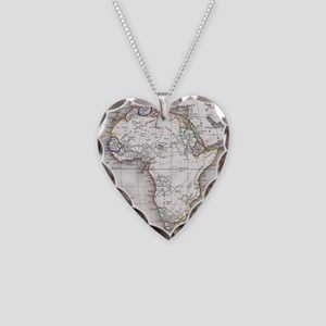 Vintage Map of Africa (1852) Necklace Heart Charm