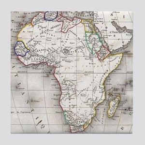 Vintage Map of Africa (1852) Tile Coaster