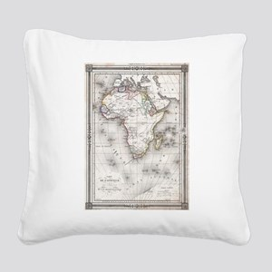 Vintage Map of Africa (1852) Square Canvas Pillow