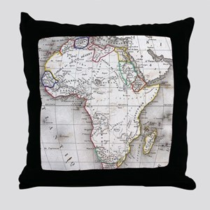 Vintage Map of Africa (1852) Throw Pillow