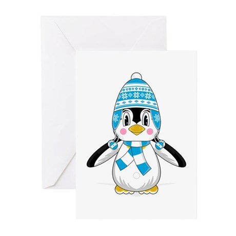 Cute Wooly Hat Penguin Greeting Cards (Pk of 10)