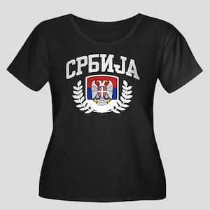 Serbia Women's Plus Size Scoop Neck Dark T-Shirt