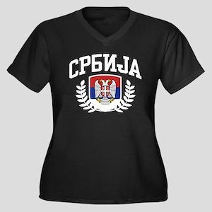 Serbia Women's Plus Size V-Neck Dark T-Shirt