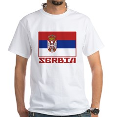 Flag of Serbia White T-Shirt