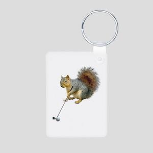 Golfing Squirrel Aluminum Photo Keychain
