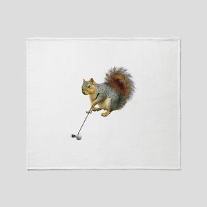 Golfing Squirrel Throw Blanket