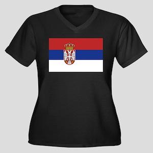 Flag of Serbia Women's Plus Size V-Neck Dark T-Shi