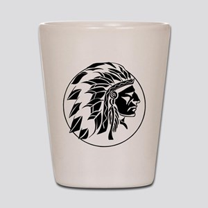 Indian Chief Head Shot Glass
