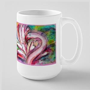 Flamingo, colorful, Large Mug