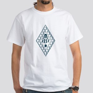 Zeta Beta Tau Badge in Blue White T-Shirt