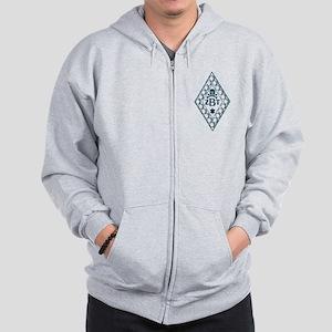 Zeta Beta Tau Badge in Blue Zip Hoodie