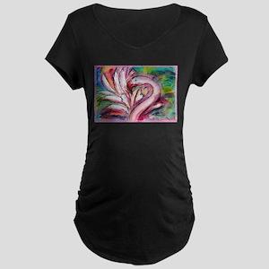 Flamingo, colorful, Maternity Dark T-Shirt