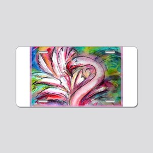 Flamingo, colorful, Aluminum License Plate