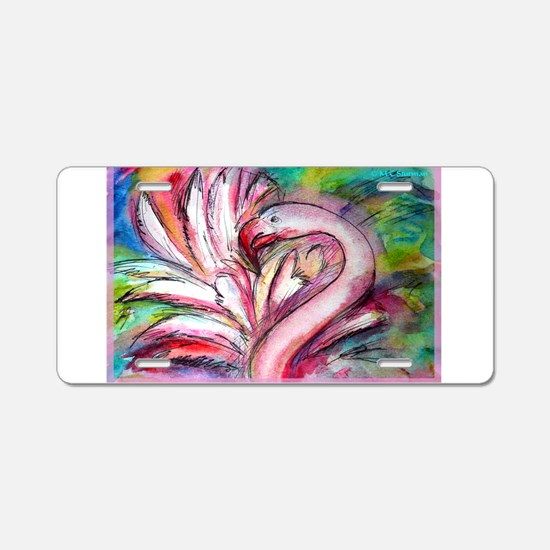 Flamingo, colorful, Aluminum License Plate