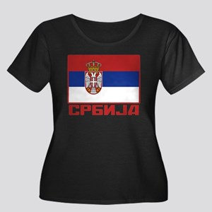 Flag of Serbia Women's Plus Size Scoop Neck Dark T