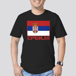 Flag of Serbia Men's Fitted T-Shirt (dark)