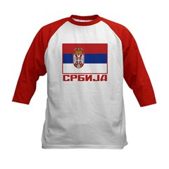 Flag of Serbia Kids Baseball Jersey
