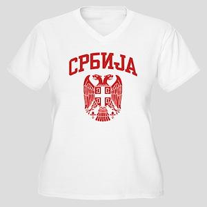 Serbia Women's Plus Size V-Neck T-Shirt