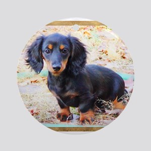 Puppy Love Doxie Ornament (Round)