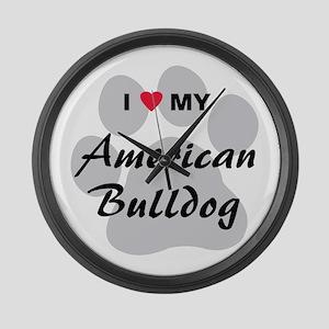 American Bulldog Large Wall Clock