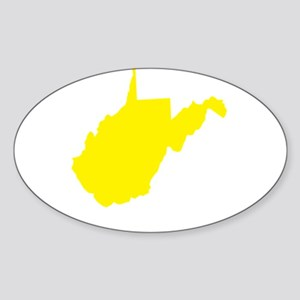 Yellow West Virginia Sticker (Oval)
