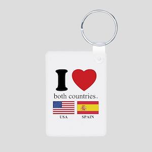 USA-SPAIN Aluminum Photo Keychain