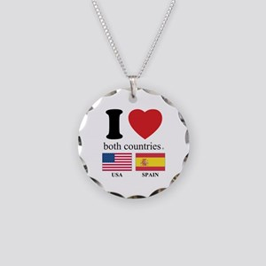 USA-SPAIN Necklace Circle Charm