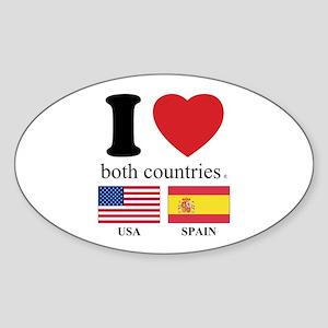 USA-SPAIN Sticker (Oval)