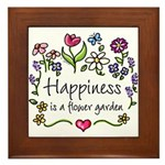 Happiness is.. Garden Framed Tile